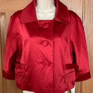 NY Collection Women's Holiday Jacket Coat Red Lg